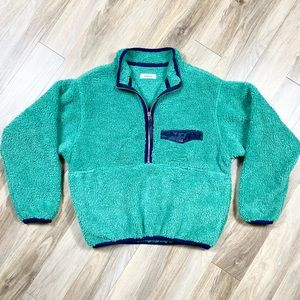Anine Bing Sierra Pullover Sherpa Jacket Green XS